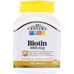 Витамины Биотин 21st Century Biotin 110 капсул 5000мкг
