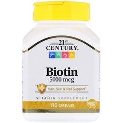 Витамины Биотин 21st Century Biotin 5мг 110 капсул