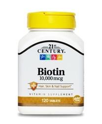 Витамины Биотин 21st Century Biotin 10мг 120 таблеток