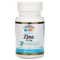 Цинк 21st Century Zinc 60 таблеток 50мг для роста бороды